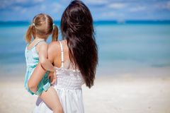 Back view of mother and his little daughter Stock Image