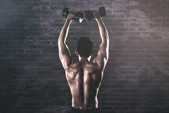 Back view of muscled man exercises with dumbbells. Back view of a muscled young man lifting two dumbbells while exercising in bricks background with smoke stock photography