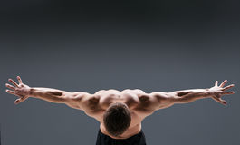 Back view of muscular young man  shows the Royalty Free Stock Image