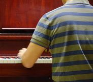 Back view of music performer playing piano. At luxury hotel Royalty Free Stock Images