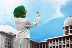 Back view of muslim woman praying. Wearing hijab Royalty Free Stock Photos