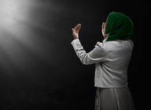 Back view of muslim woman praying. Wearing hijab Royalty Free Stock Photography