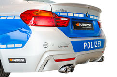 Back view of new modern model BMW German police pa Stock Image