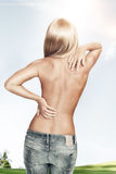 Back. View of nice young woman back on color back Royalty Free Stock Image