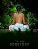 Back. View of nice young woman meditating in spa environment Stock Photos