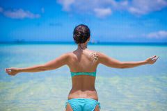 Back View Of Beautiful Girl In Swimsuit Walking Royalty Free Stock Photography