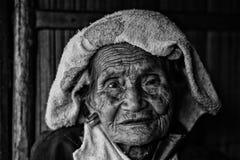 Back view old karen woman Royalty Free Stock Image