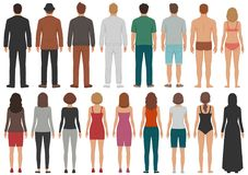 Free Back View People Group, Man, Woman Standing Characters, Business Isolated Person Stock Image - 110240331