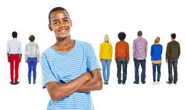 Back View of People and a Teenage Boy Royalty Free Stock Image