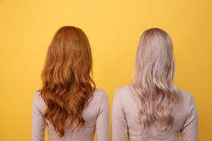 Back view photo of young redhead and blonde ladies. Friends standing over yellow background Royalty Free Stock Photos