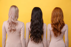 Back view photo of young three ladies Stock Photos