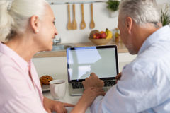 Back view picture of mature loving couple family using laptop royalty free stock image