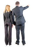 Back view of  pointing business team. Royalty Free Stock Image