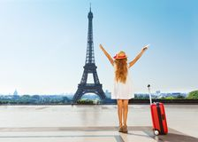 Little traveler during summer vacation in Paris Stock Photography