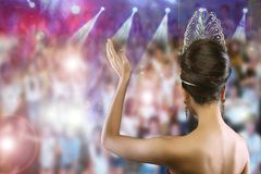 Back view Portrait of Miss Pageant Beauty Contest in Diamond Crown. Back view Portrait of Miss Pageant Beauty Contest in Evening dress Diamond Crown, Woman royalty free stock images