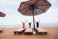 Back view portrait of three sexy women friends sitting and resting in lounge chairs with umbrella on the sea beach. Rear view. Back view portrait of three women Royalty Free Stock Photo