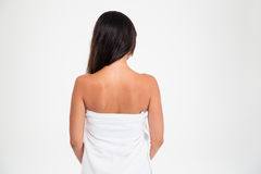 Back view portrait of a woman in towel Royalty Free Stock Image
