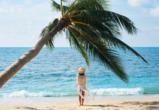 Back view of pretty young woman relax and enjoy sea standing under palm tree on tropical beach stock photos