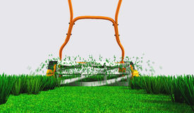 A back view of a push lawn mower at work. A back bottom view of an orange push lawn mower in movement that is cutting the grass along a straight strip of green Royalty Free Stock Photography