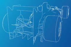 Back view race car. Abstract drawing. Tracing illustration of 3d. Back view race car. Abstract drawing. Tracing illustration of 3d Stock Photography