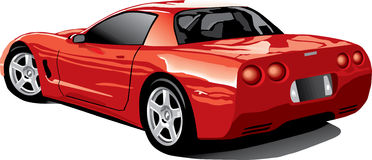 Back view of a red corvette Royalty Free Stock Image