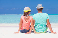 Back view of romantic couple in bright clothes Royalty Free Stock Photos