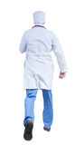 Back view of running doctor in a robe hurrying to help the patie Stock Photo