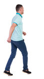 Back view of running man in blue polo. Royalty Free Stock Image