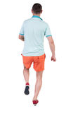 Back view of running sportsman. Royalty Free Stock Images
