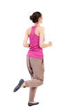 Back view of running  woman. Stock Image