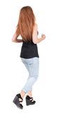 Back view of running  woman. Stock Images