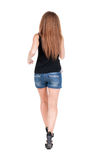 Back view of running  woman. Royalty Free Stock Photography
