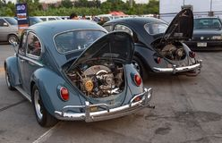 Back view of 60`s vintage Volkswagen beetle. Bangkok, Thailand - February 9, 2019: Back view show engine of vintage Volkswagen beetle at volkswagen club meeting stock image