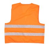 Back view of safety orange vest. Safety orange vest. Back view. Isolated on a white background stock photo