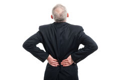 Back view of senior holding his back like hurting Royalty Free Stock Image
