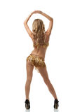 Back view of girl dancing Latin dance. Isolated on white royalty free stock photo