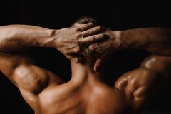 Back view of sexy muscular bodybuilder back and hands Royalty Free Stock Photos