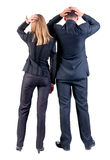 Back view of shocked business team Royalty Free Stock Photography