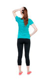 Back view of shocked woman. Stock Photo