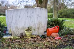 Back view of single grave stone Royalty Free Stock Photos