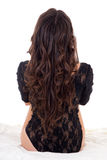 Back view of sitting woman in black lingerie isolated on white Royalty Free Stock Image
