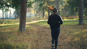 Back view of slender young woman in sportswear jogging in park and wearing headphones listening to music training alone