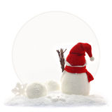 Back view of snowman and Christmas Stock Photography