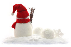 Back view of snowman and christmas Royalty Free Stock Images