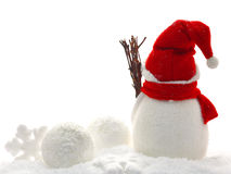 Back view of snowman and christmas Stock Image