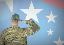 Back view of a soldier in front of american flag stock photography