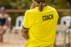 Back view of sport coaches royalty free stock photography