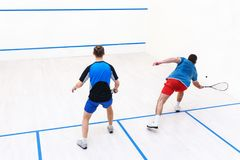 Squash players back view. Back view of squash players hitting a ball in a squash court. Squash players in action. Men playing match of squash. Sports, people Royalty Free Stock Photography