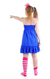 Back view of standing beautiful red haired  teenager pointing Stock Photo