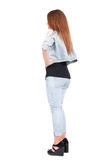 Back view of standing beautiful red head woman. Stock Photography